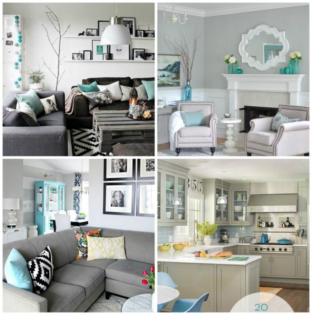 Cinza e azul decoração casa