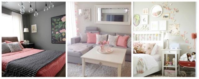 Cinza e rosa decoração casa