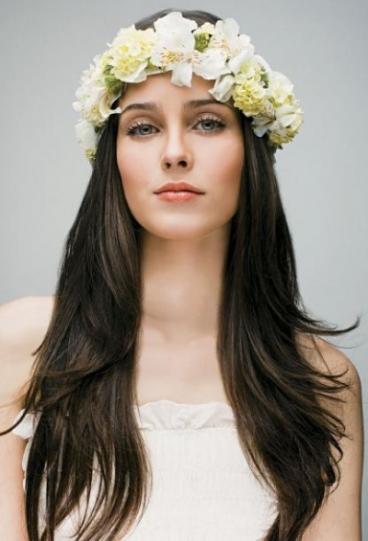cabelo noiva liso coroa flores